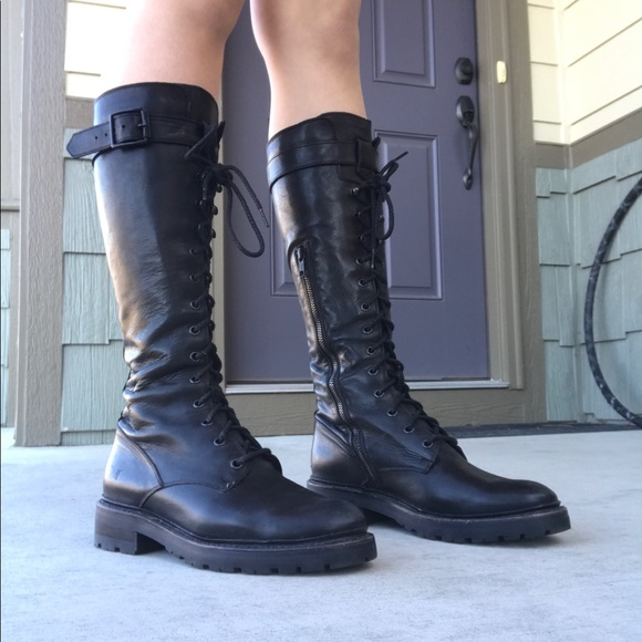 Leather Julie Tall Combat Boots | Poshmark